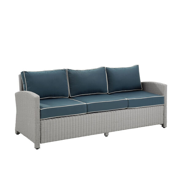 Bradenton Gray and Navy Outdoor Wicker Sofa, image 3