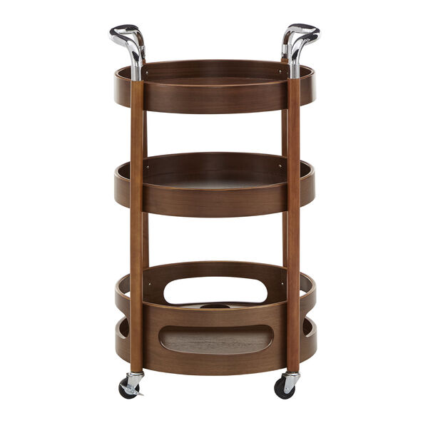 Adora Walnut Round Bar Cart, image 2