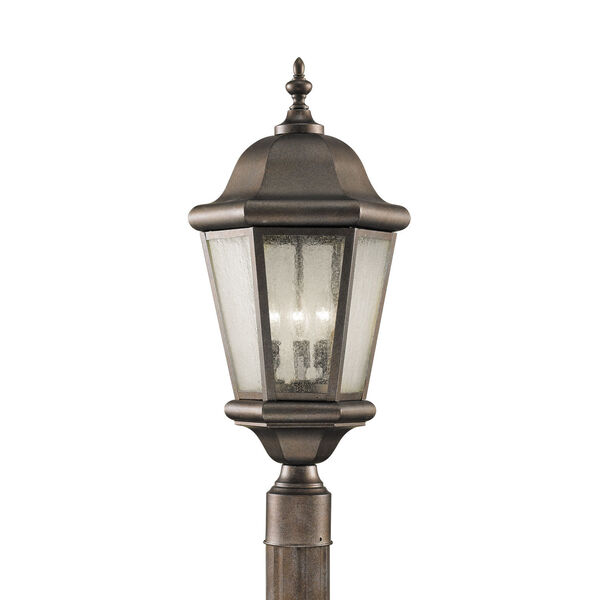 Martinsville Corinthian Bronze Three-Light Outdoor Post Mount with Clear Seeded Shade, image 1