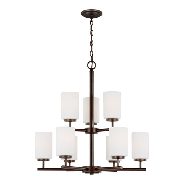 Oslo Bronze Nine-Light Chandelier with Cased Opal Etched Shade Energy Star, image 1