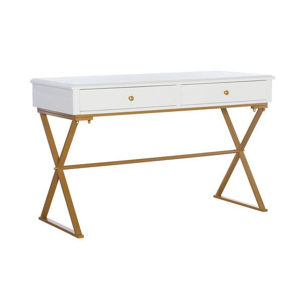 Rowan White and Gold Two-Drawer Thomas Desk, image 1