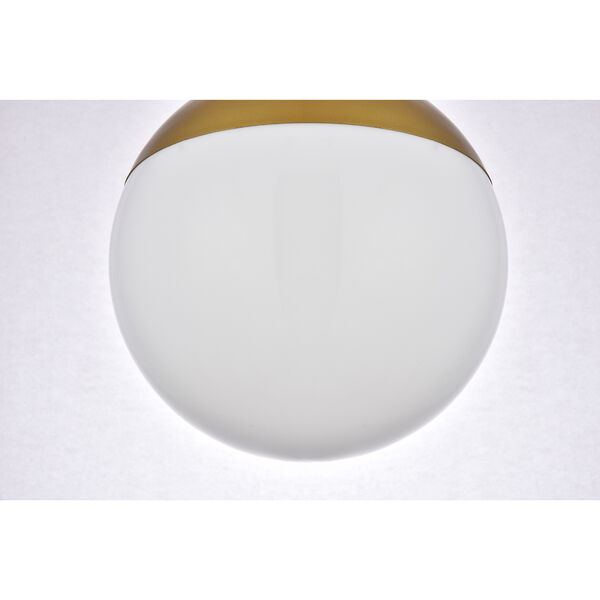 Eclipse Brass and Frosted White 10-Inch One-Light Semi-Flush Mount, image 6