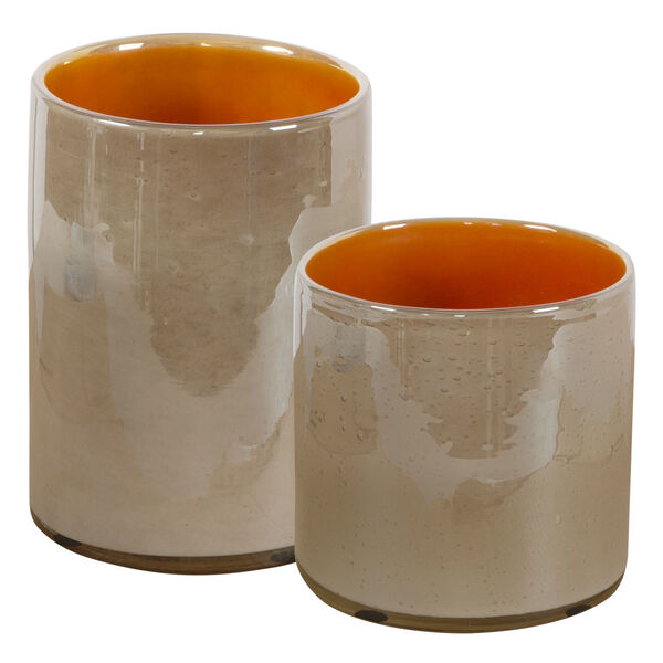 Tangelo Leight Beige and Orange Vase, Set of 2, image 1