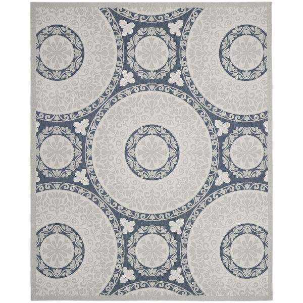Calobra White and Blue Indoor/Outdoor Area Rug, image 2
