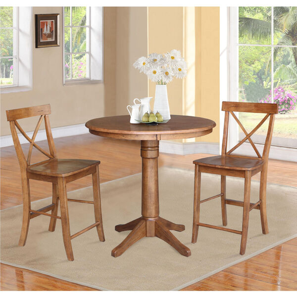 Distressed Oak 36-Inch Round Pedestal Gathering Table with Two X-Back Counter Height Stool, Set of Three, image 1
