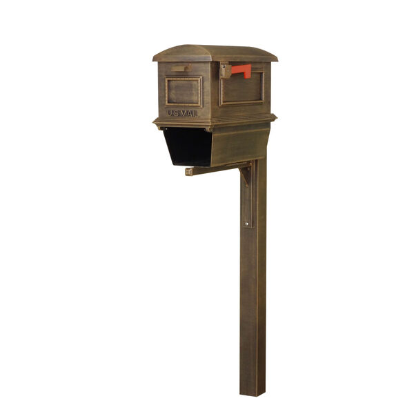 Curbside Copper Mailbox with Newspaper Tube and Wellington Mailbox Post, image 1