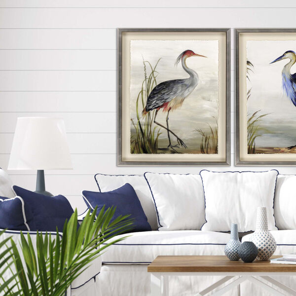 Blue 44 H x 35 W-Inch Grey Heron Wall Art, image 1