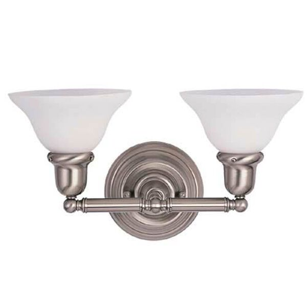 Sussex Brushed Nickel Two-Light Bath Fixture, image 2
