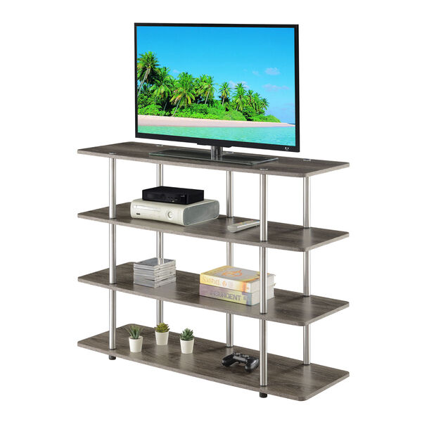 Designs2Go Weathered Gray Highboy Four-Tier TV Stand, image 3
