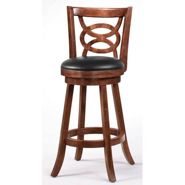 Cappuccino 29-Inch Swivel Bar Stool with Upholstered Seat, image 1