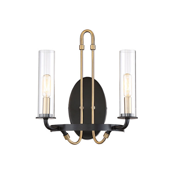 Whittier Vintage Black Two-Light Wall Sconce, image 1