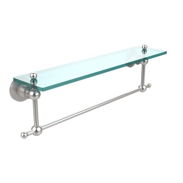 Satin Chrome Single Shelf with Towel Bar, image 1
