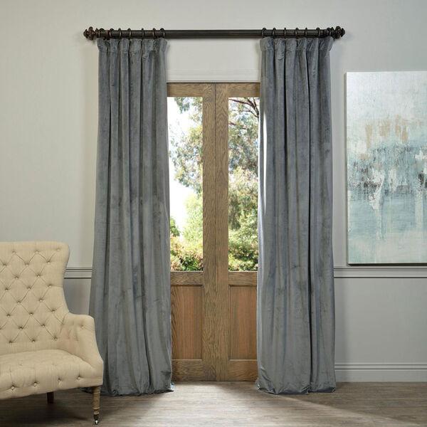 Natural Grey Blackout Velvet Pole Pocket Single Panel Curtain, 50 X 120, image 1