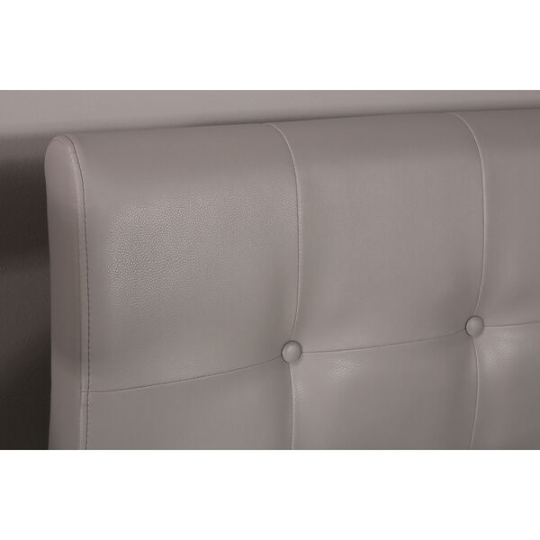Lusso Queen Bed Set with Rails - Gray Faux Leather, image 2