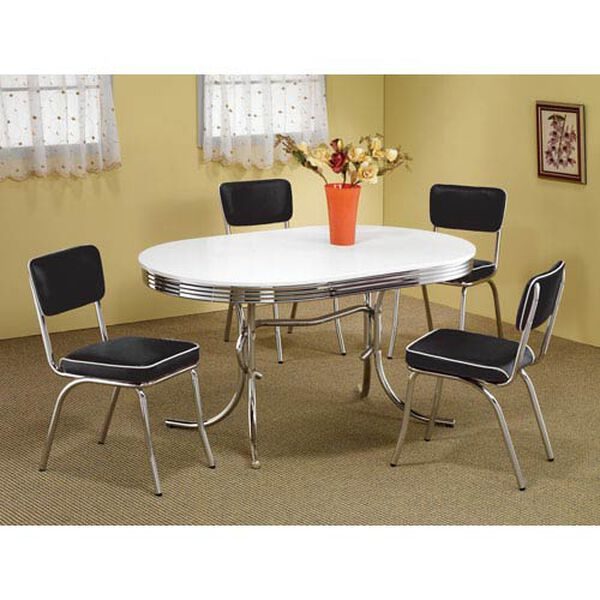 Cleveland Chrome Plated Side Chair with Black Cushion, image 2