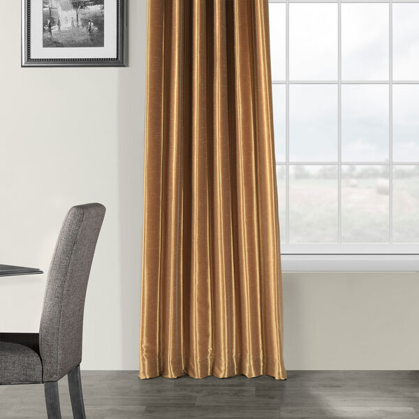 Flax Gold Vintage Textured Faux Dupioni Silk Single Panel Curtain, 50 X 84, image 5