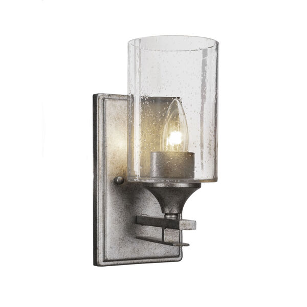 Uptowne Aged Silver Four-Inch One-Light Wall Sconce with Clear Bubble Glass, image 1