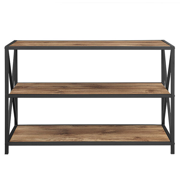 40-inch X-Frame Metal and Wood Media Bookshelf - Barnwood, image 3