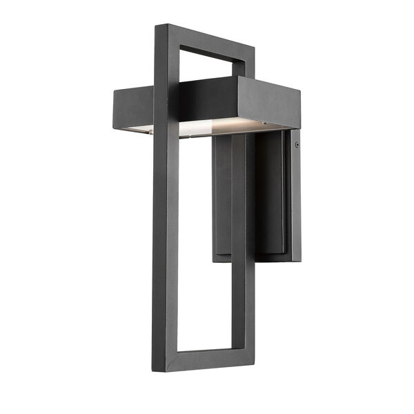 Luttrel Black 15-Inch LED Outdoor Wall Sconce with Frosted Glass, image 1