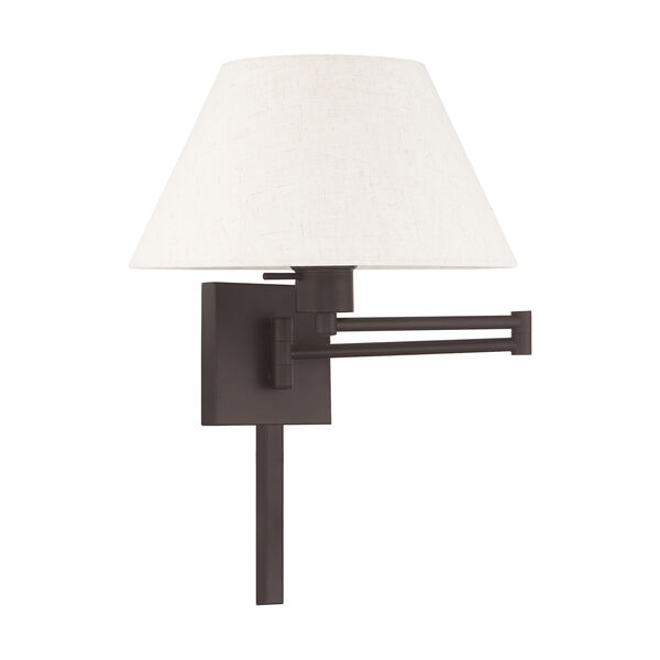 Swing Arm Wall Lamps Bronze 13-Inch One-Light Swing Arm Wall Lamp with Hand Crafted Oatmeal Hardback Shade, image 2