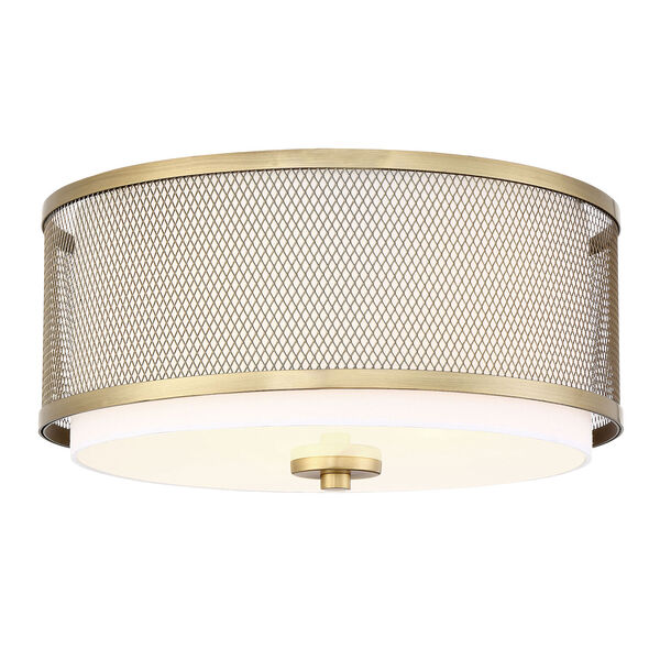 Selby Natural Brass Three-Light Flush Mount Drum  with White Fabric Shade, image 3