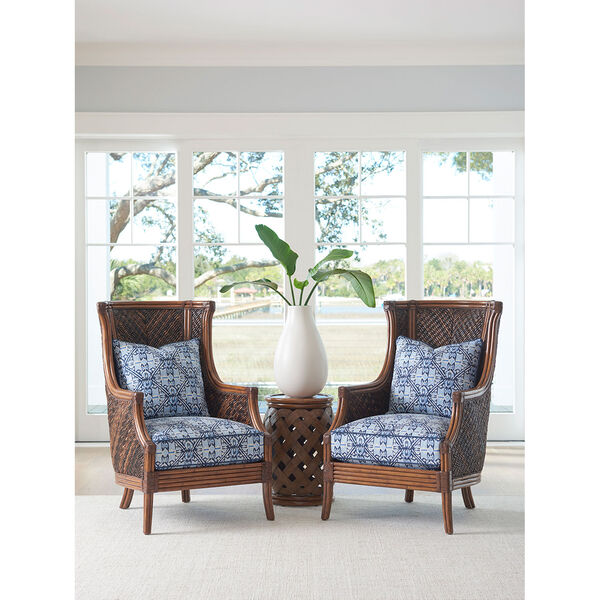 Bali Hai Brown Hibiscus Round Accent Table, image 2