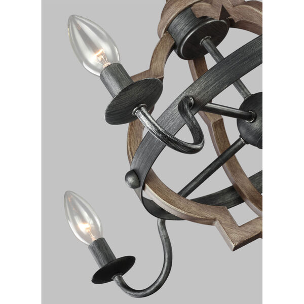 Kenwood Black and Wood 22-Inch Four-Light Chandelier, image 2