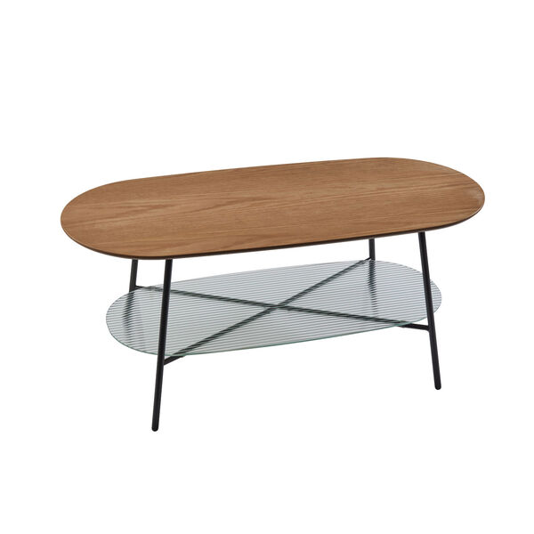 Diane Natural Wood and Black Two-Tiered Coffee Table, image 1