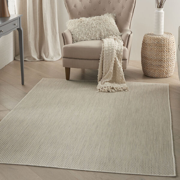 Courtyard Ivory and Silver 4 Ft. x 6 Ft. Rectangle Indoor/Outdoor Area Rug, image 1