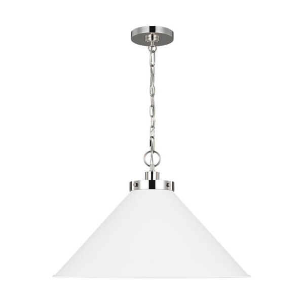 Wellfleet Matte White and Silver 24-Inch One-Light Pendant, image 2