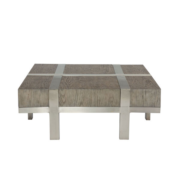 Leigh Gray and Chrome 46-Inch Cocktail Table, image 1