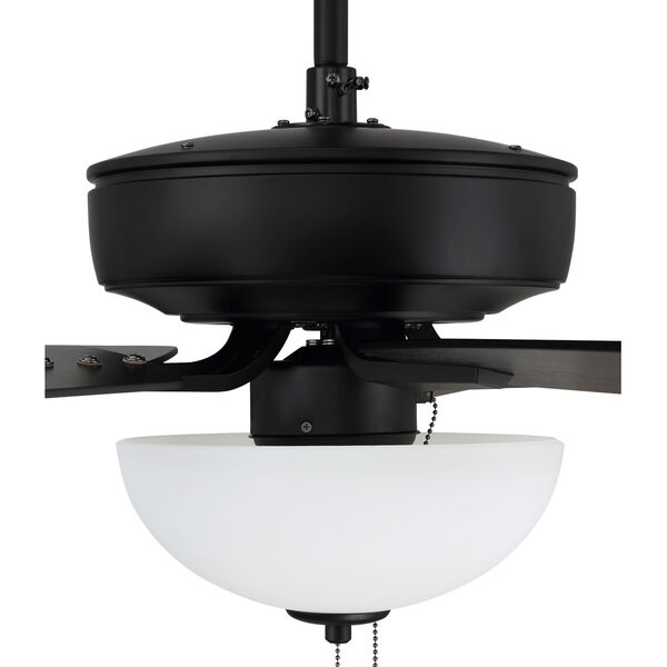 Pro Plus Flat Black 52-Inch Two-Light Ceiling Fan with White Frost Bowl Shade, image 7