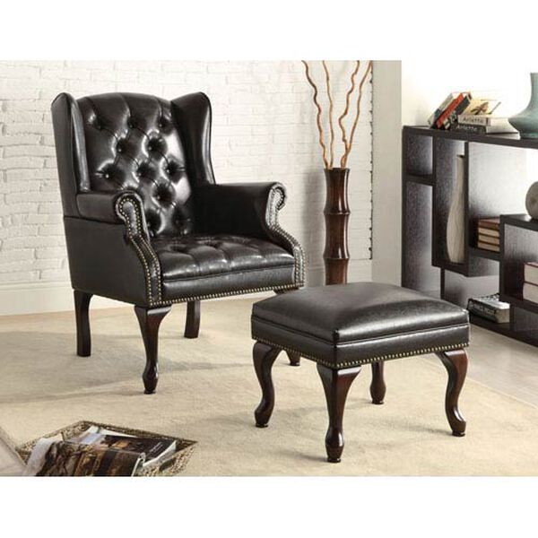 Black Traditional Wing Back Button Tufted Chair and Ottoman, image 1