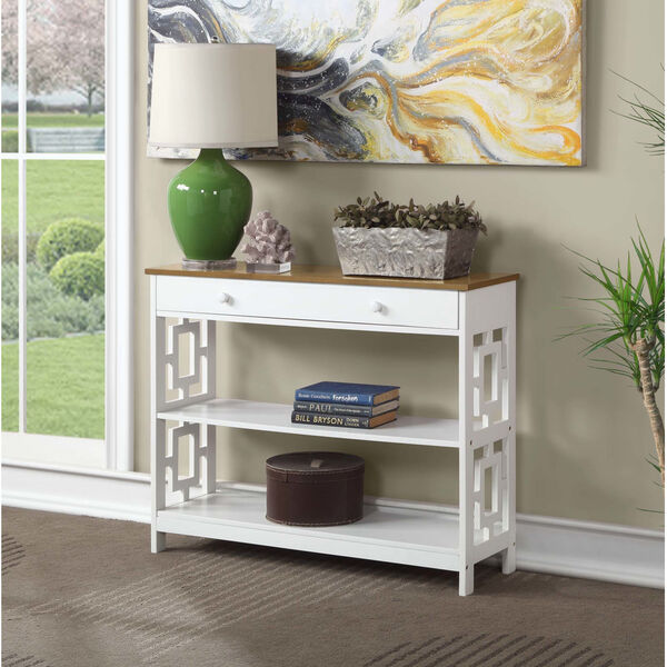 Town Square Driftwood White Accent Console Table, image 1