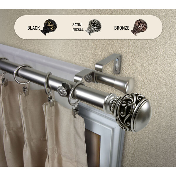 Isabella Satin Nickel 170-Inch Double Curtain Rod, image 2