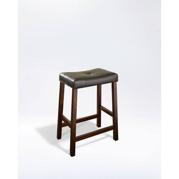 Upholstered Saddle Seat Bar Stool in Vintage Mahogany Finish with 24 Inch Seat Height- Set of Two, image 1