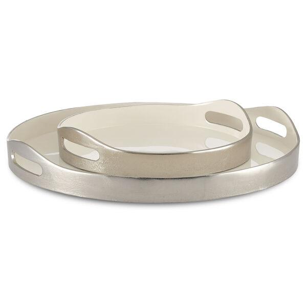 Riya White and Silver Tray, Set of 2, image 1