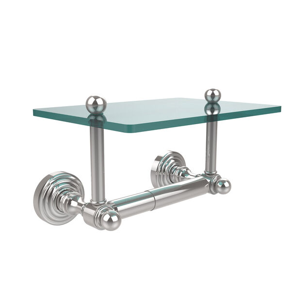 Waverly Place Collection Two Post Toilet Tissue Holder with Glass Shelf, image 1