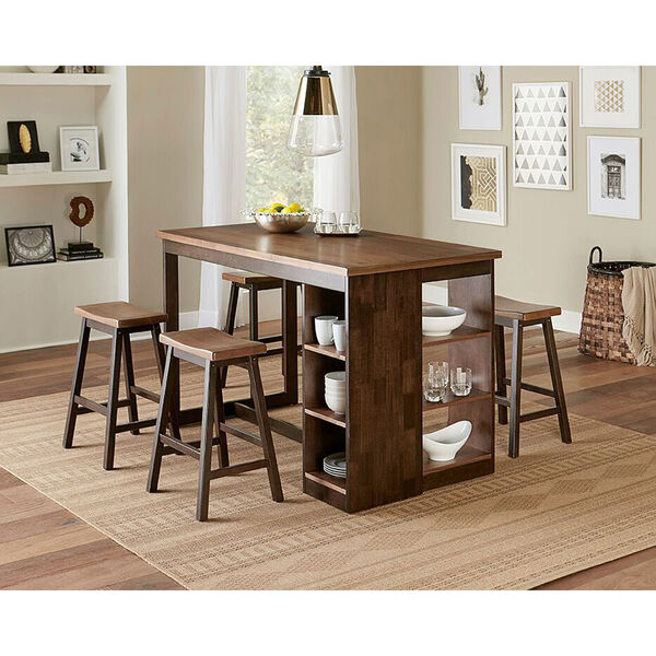 Kenny Walnut and Chocolate Counter Storage Table, image 1