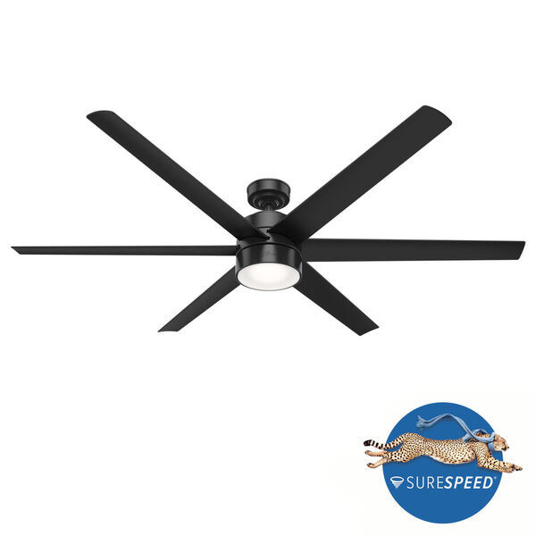 Solaria Matte Black LED 72-Inch Outdoor Ceiling Fan, image 2