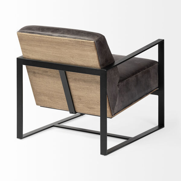 Stamford I Ebony Leather Wrapped Arm Chair, image 6