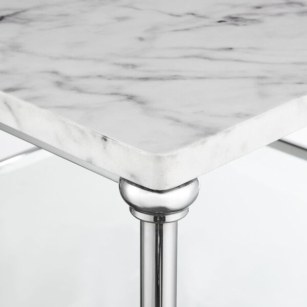 Roman II Faux White Marble Chrome Square Coffee Table, image 3