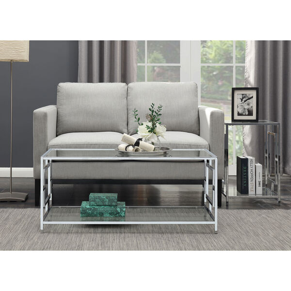 Town Square Coffee Table in Clear Glass and Chrome Frame, image 2