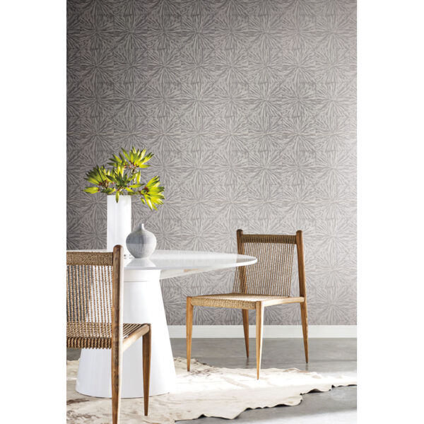 Antonina Vella Elegant Earth Charcoal Squareburst Geometric Wallpaper, image 1