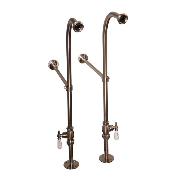 Brushed Nickel Tub Kit 60-Inch Acrylic Slipper, Shower Rod, Filler, Supplies, and Drain, image 2
