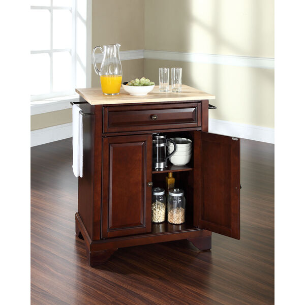 LaFayette Natural Wood Top Portable Kitchen Island in Vintage Mahogany Finish, image 4