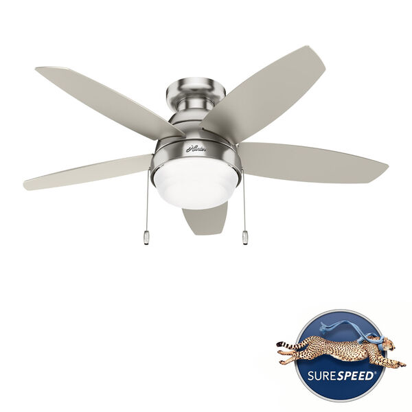 Lilliana Brushed Nickel 44-Inch Two-Light LED Ceiling Fan, image 1