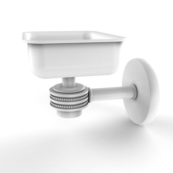 Satellite Orbit One Matte White Four-Inch Wall Mounted Soap Dish with Dotted Accents, image 1