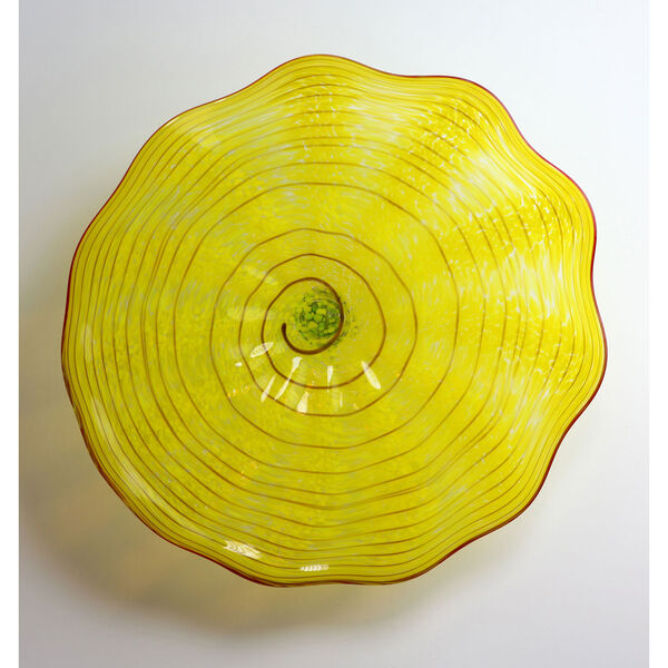 Yellow and Red Stripe Wall Plate - Medium, image 1