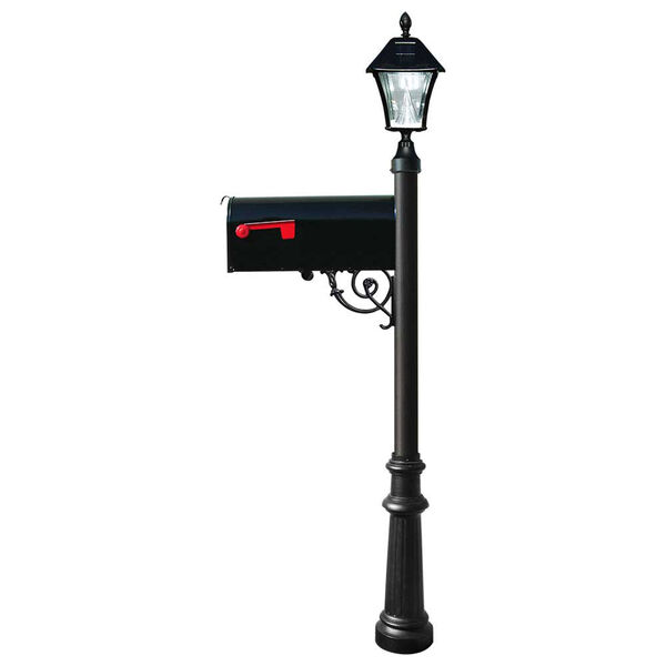 Lewiston Post with Economy 1 Mailbox, Fluted Base in Black Color with Black Solar Lamp, image 1